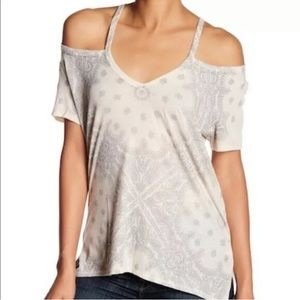 Lucky Brand Cold Shoulder Printed Tee Small NEW